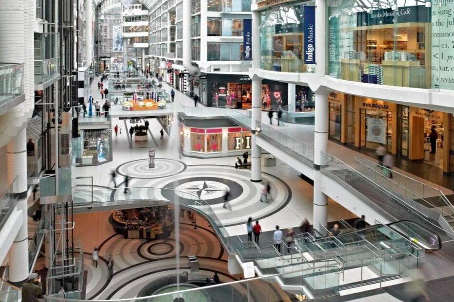An empty CF Toronto Eaton Centre - Photo by Toronto Tourism