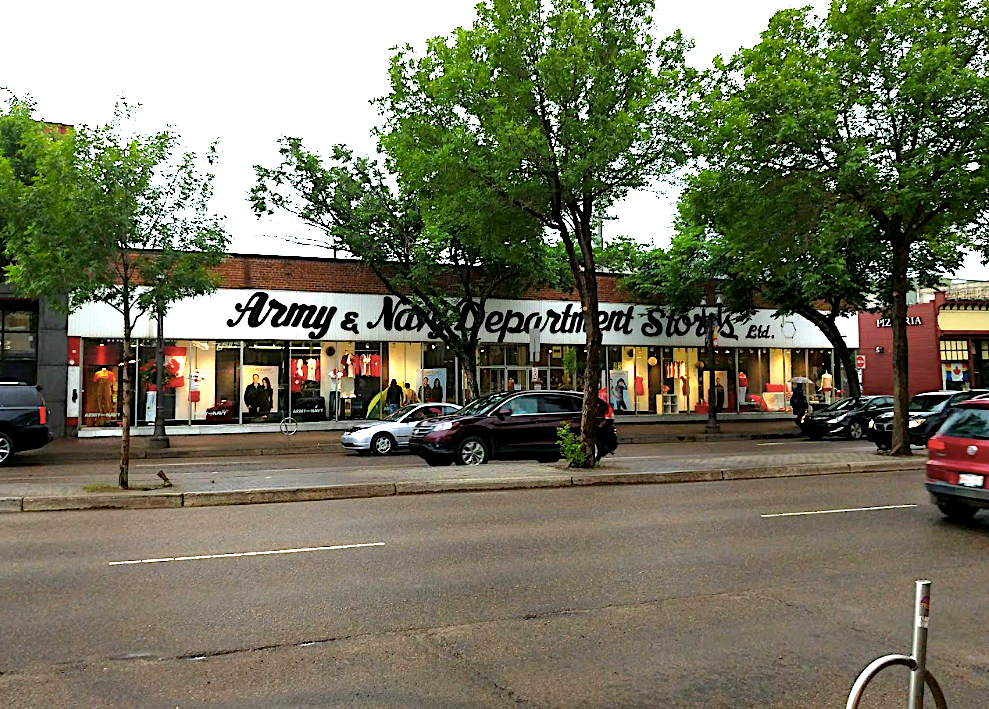 Army & Navy department store on Whyte Ave, Edmonton - Photo by Google street view