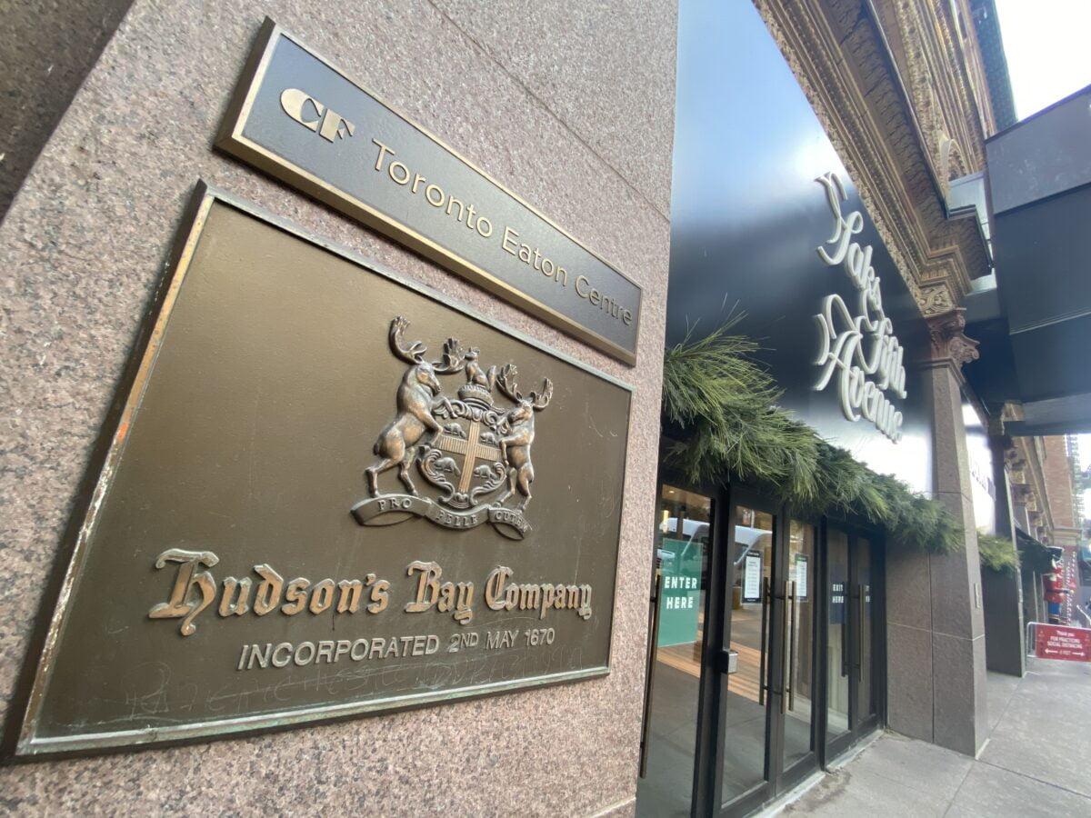 Hudson'sBay Company signage outside CF Toronto Eaton Centre. Photo: Dustin Fuhs