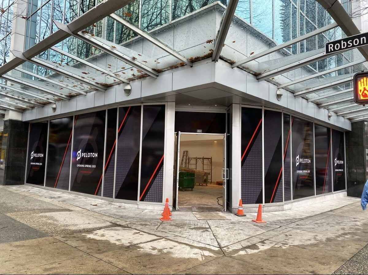New Peloton store on the corner of Robson Street and Hornby Street in downtown Vancouver. Photo: Martin Moriarty