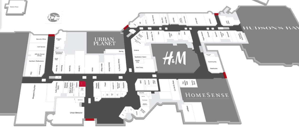 MAP OF KINGSWAY MALL WITH NEW PARIS JEWELLERS LOCATION HIGHLIGHTED IN RED. IMAGE: KINGSWAY MALL
