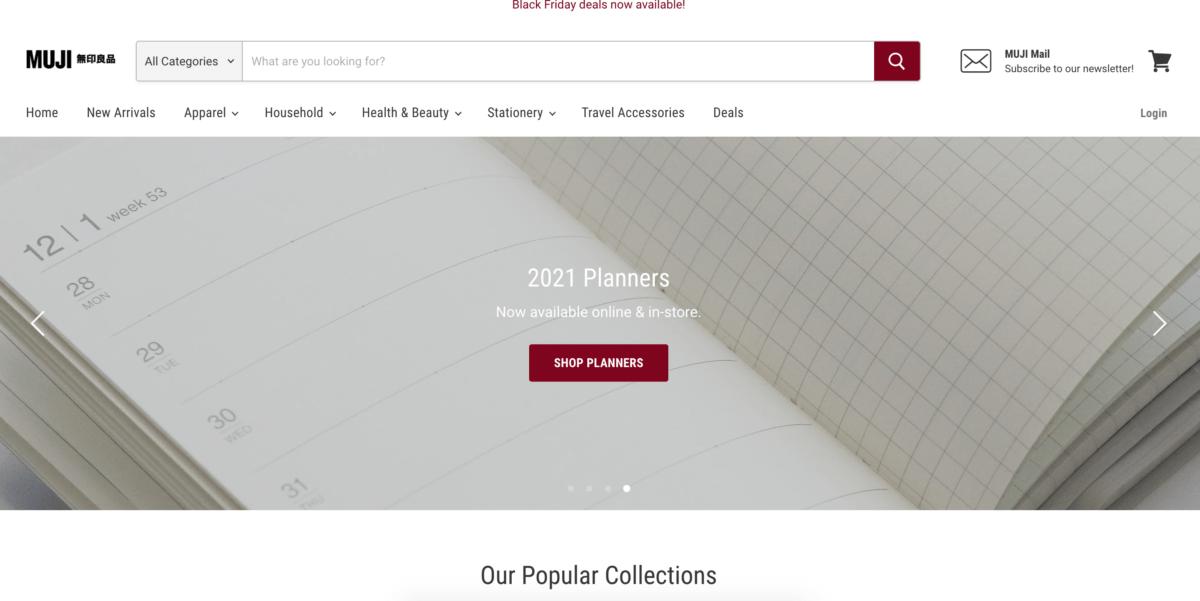 Screenshot of new MUJI online store.