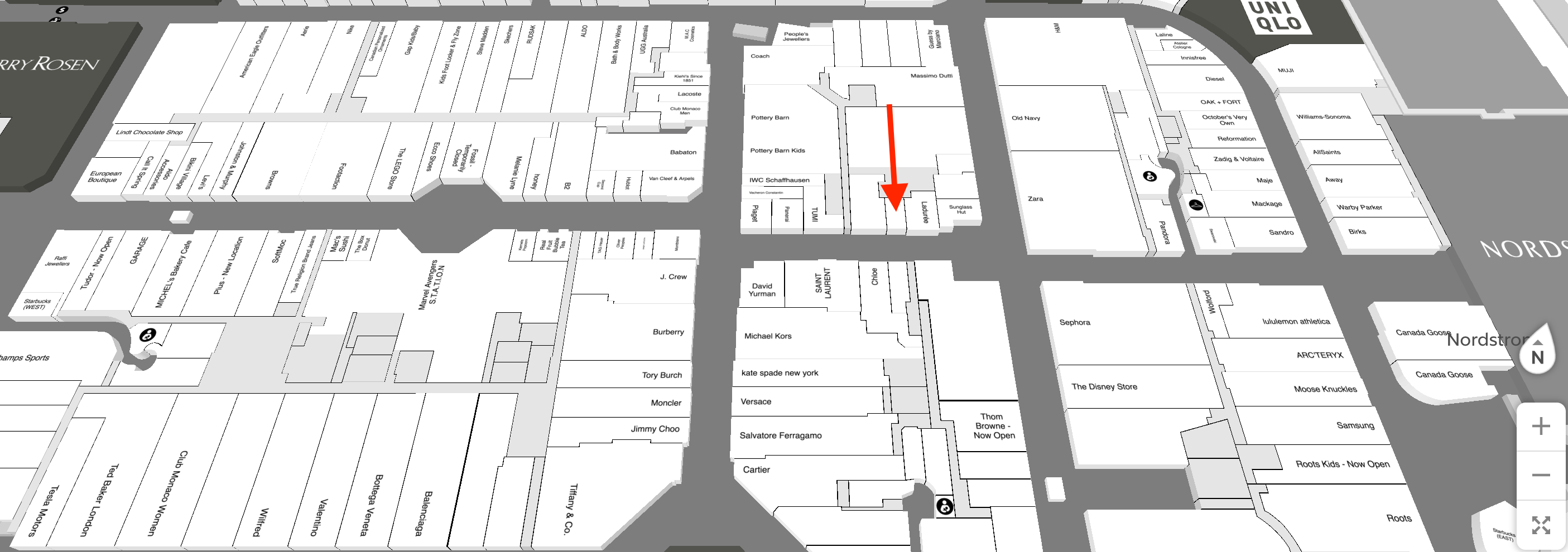 Map of Yorkdale Shopping Centre with red arrow indicating location of future Jo Malone store.