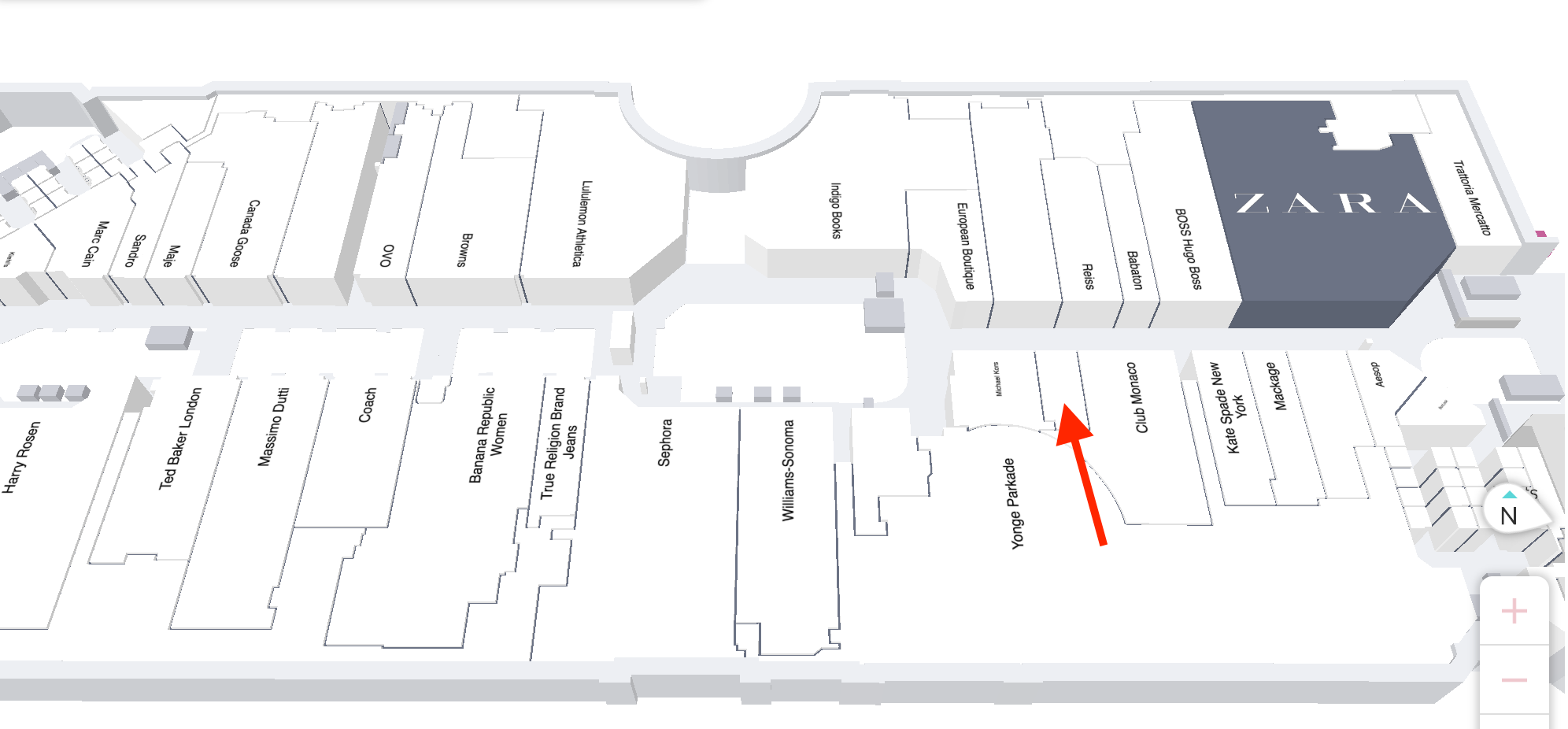 Map of third floor of CF Toronto Eaton Centre with red arrow indicating location of future Jo Malone store.