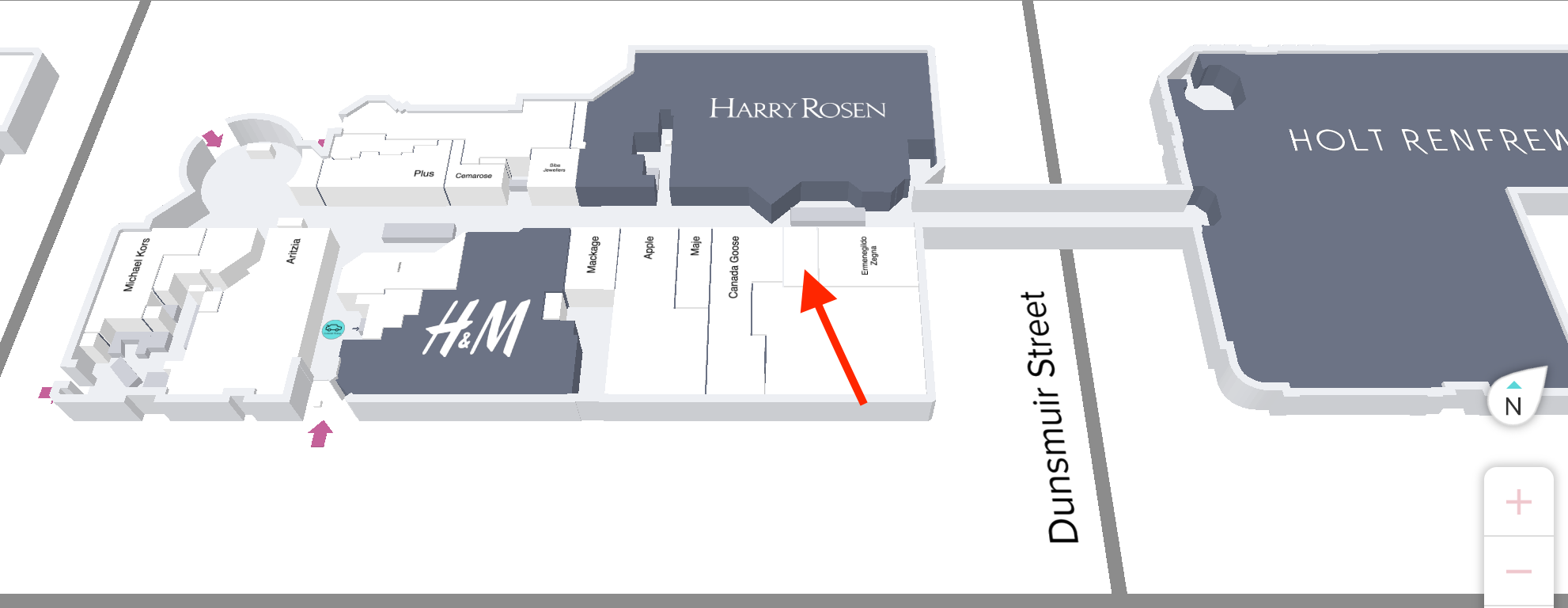 Map of top level of CF Pacific Centre with red arrow indicating location of future Jo Malone store.