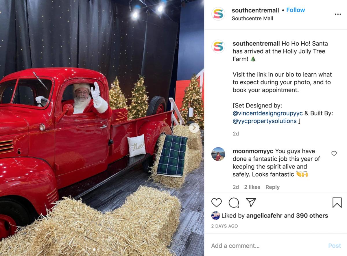 Southcentre Mall's Santa Instagram announcement