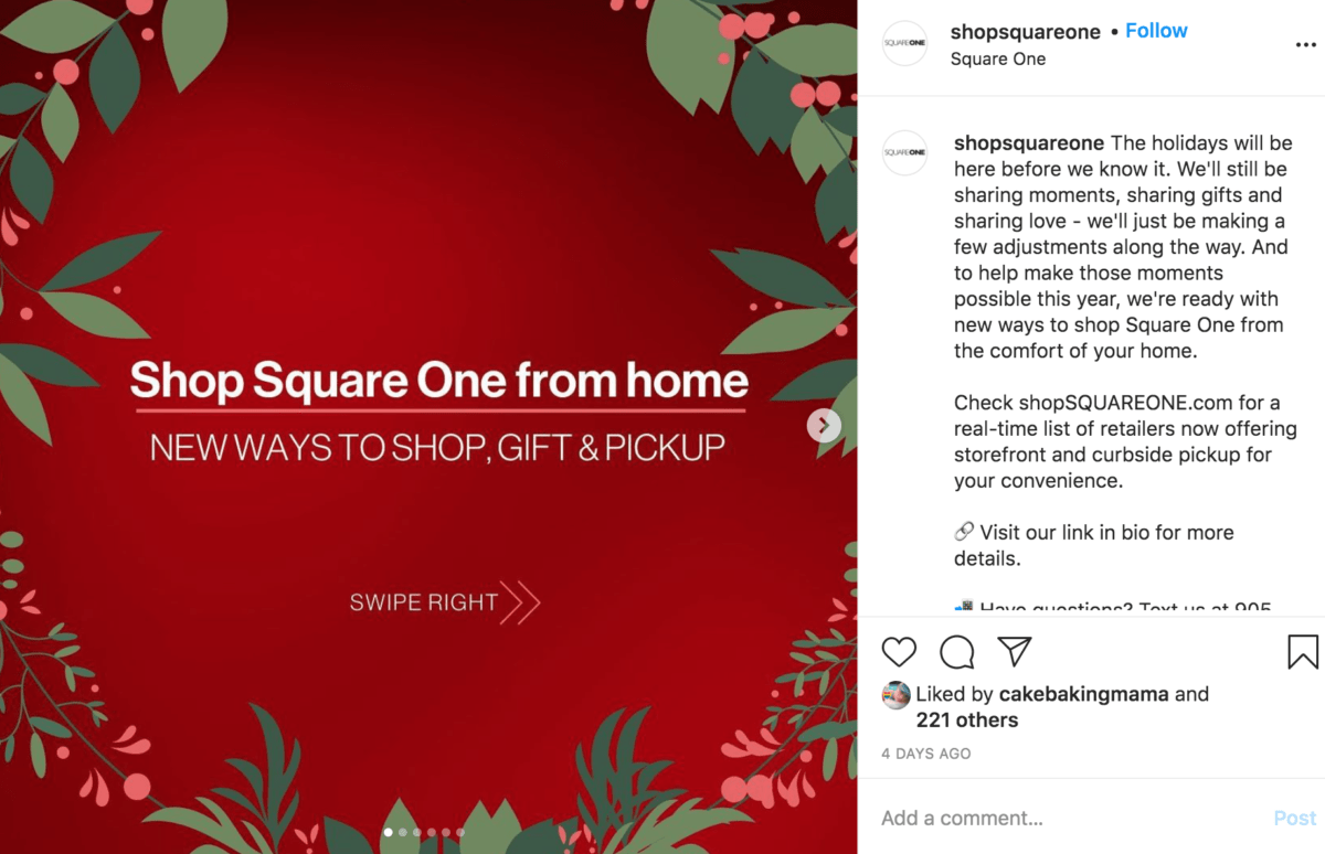 Screenshot of Square One's Instagram