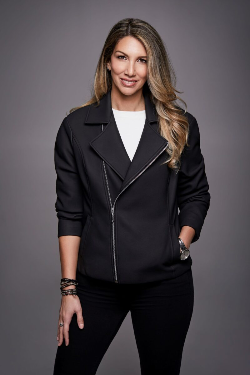 SYLVIA GALLO, FOUNDER OF JEANE&JAX WEARING LIMITED-EDITION JACKET MADE FROM UPCYCLED CAR INTERIORS. PHOTO: JEANE&JAX