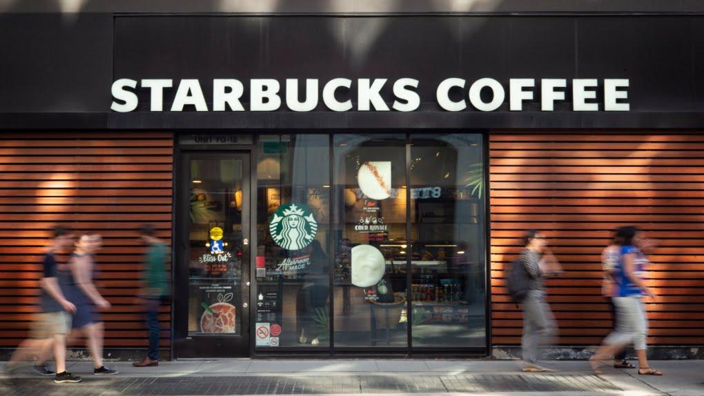 EXTERIOR OF A DOWNTOWN TORONTO STARBUCKS COFFEE SHOP. PHOTO: STARBUCKS