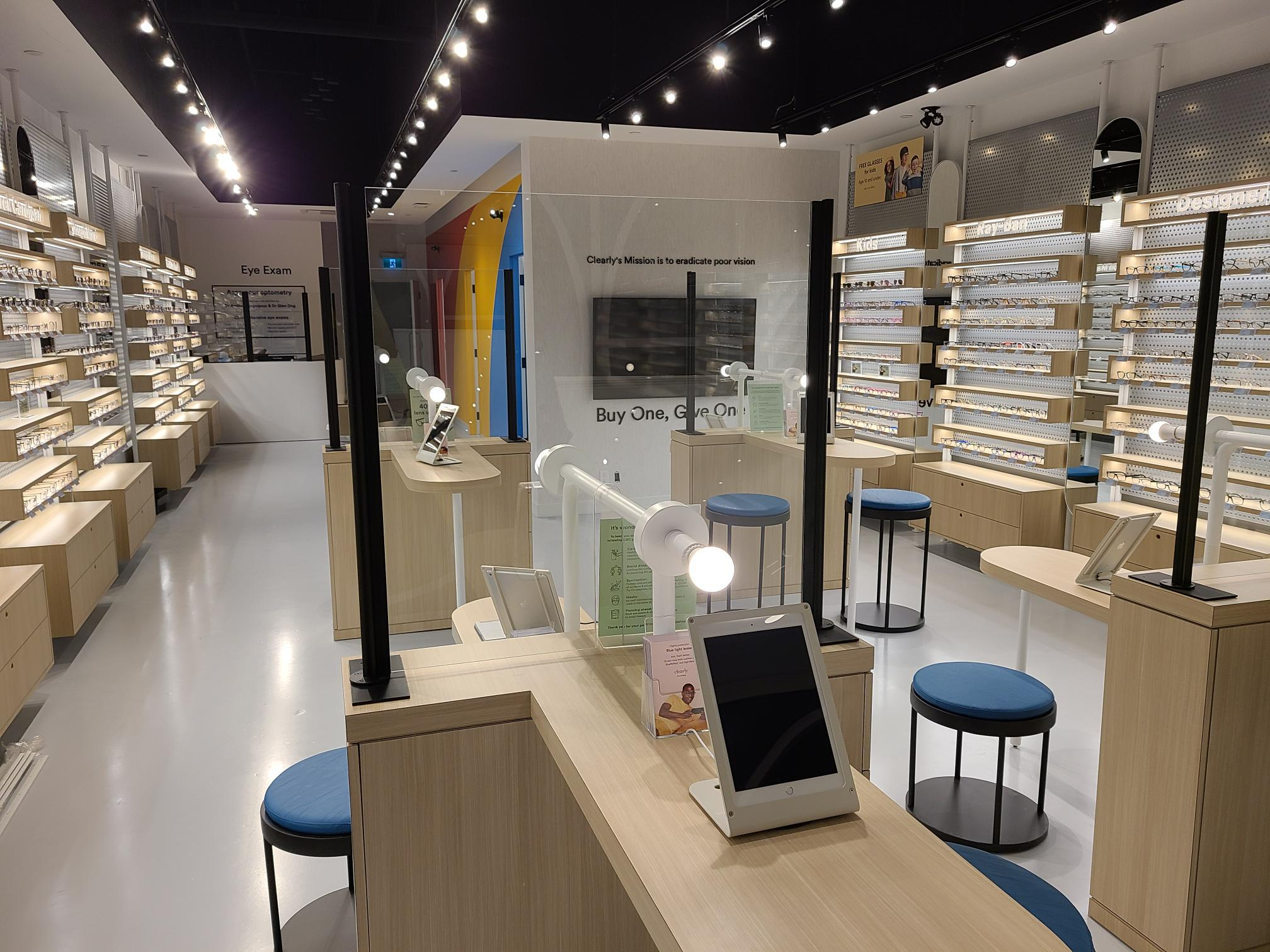 Interior image of new Clearly store in the CF Chinook Centre. Photo: Clearly