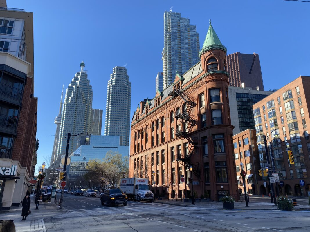 Flatiron Pub on a quiet Front Street East in Toronto. Photo: Dustin Fuhs