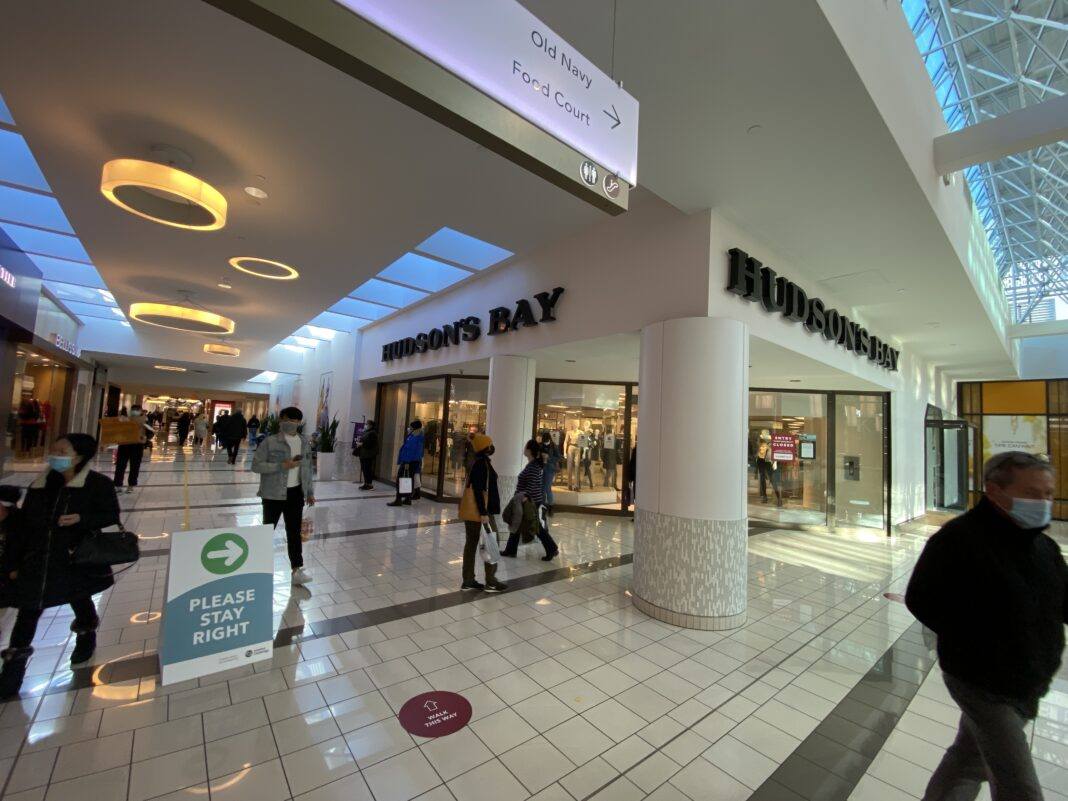 Shoppers outside Hudson's Bay at Guildford Mall. Photo: Lee Rivett