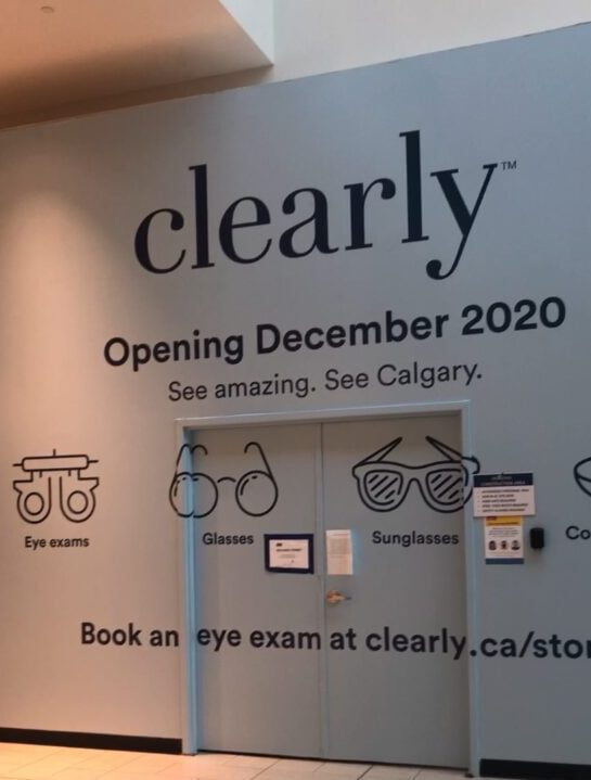 Exterior of new Clearly store in the CF Chinook Centre. Photo taken in late November. Photo: Retail Insider