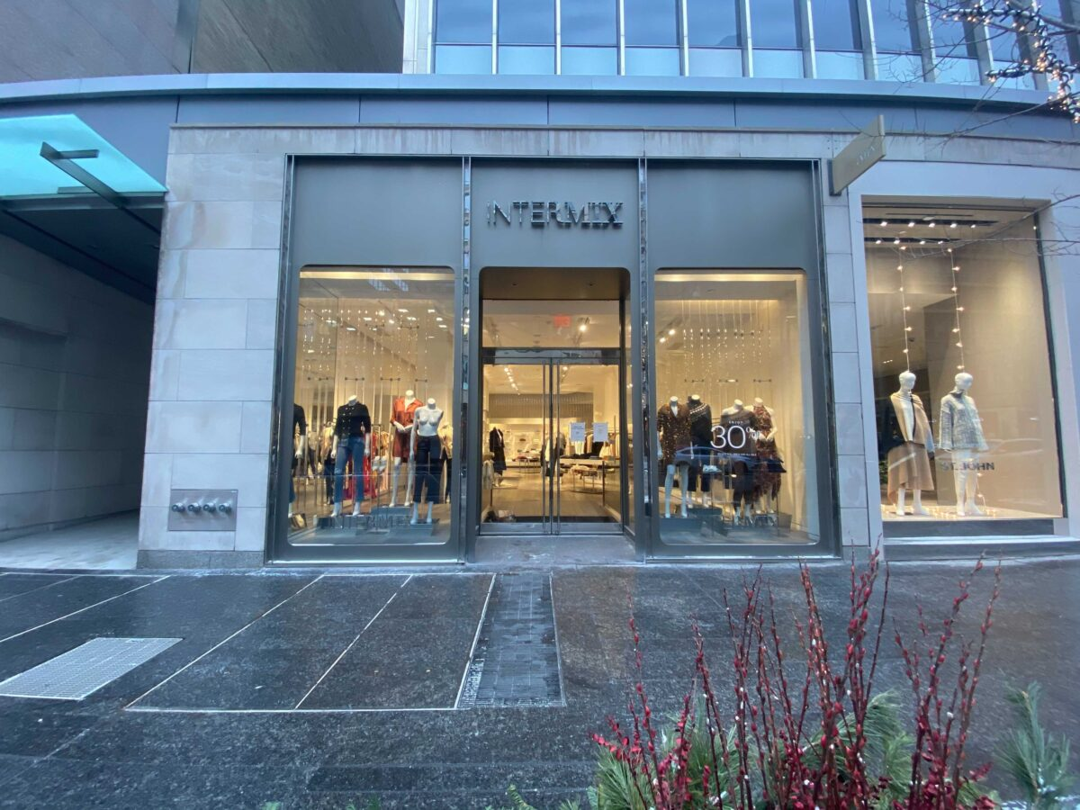 Exterior of Intermix store before the brand's imminent departure from Canada. Photo: Craig Patterson