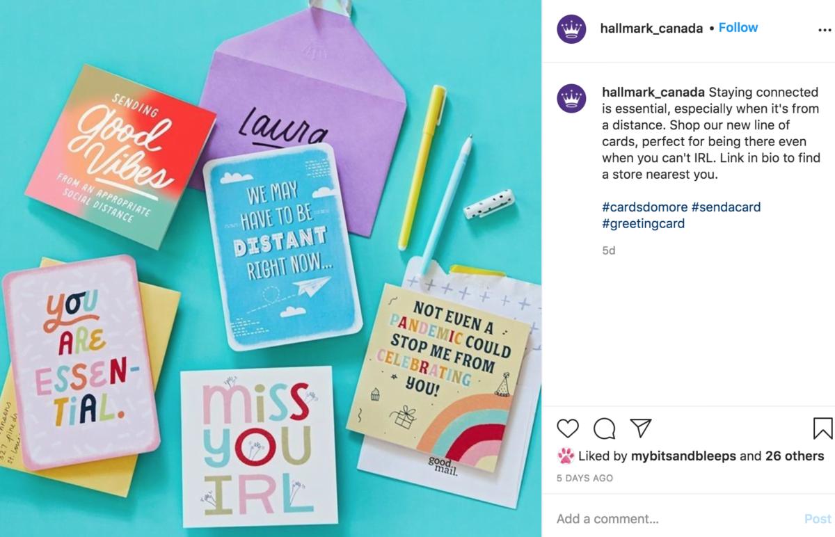 Screenshot of Hallmark Canada Instagram