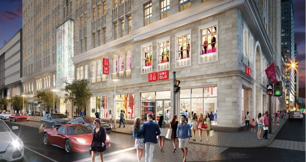 Rendering of Uniqlo store at the Montreal Eaton Centre. Rendering: Uniqlo