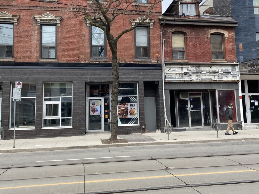 A row of vacant Queen Street storefronts in Toronto. Photo: Dustin Fuhs (January 10th 2021)