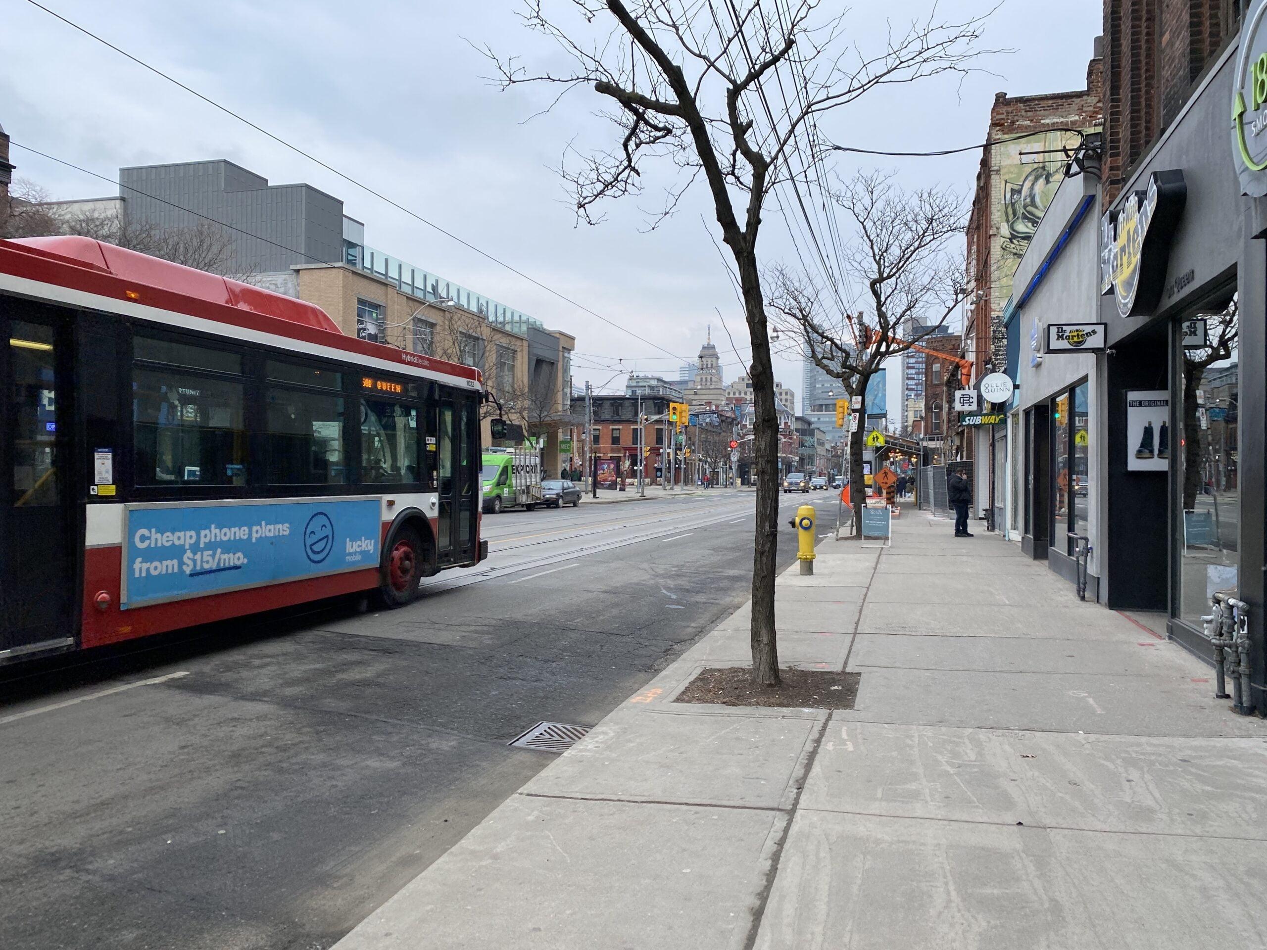 A quiet Queen Street West in Toronto during lockdown. Photo: Dustin Fuhs