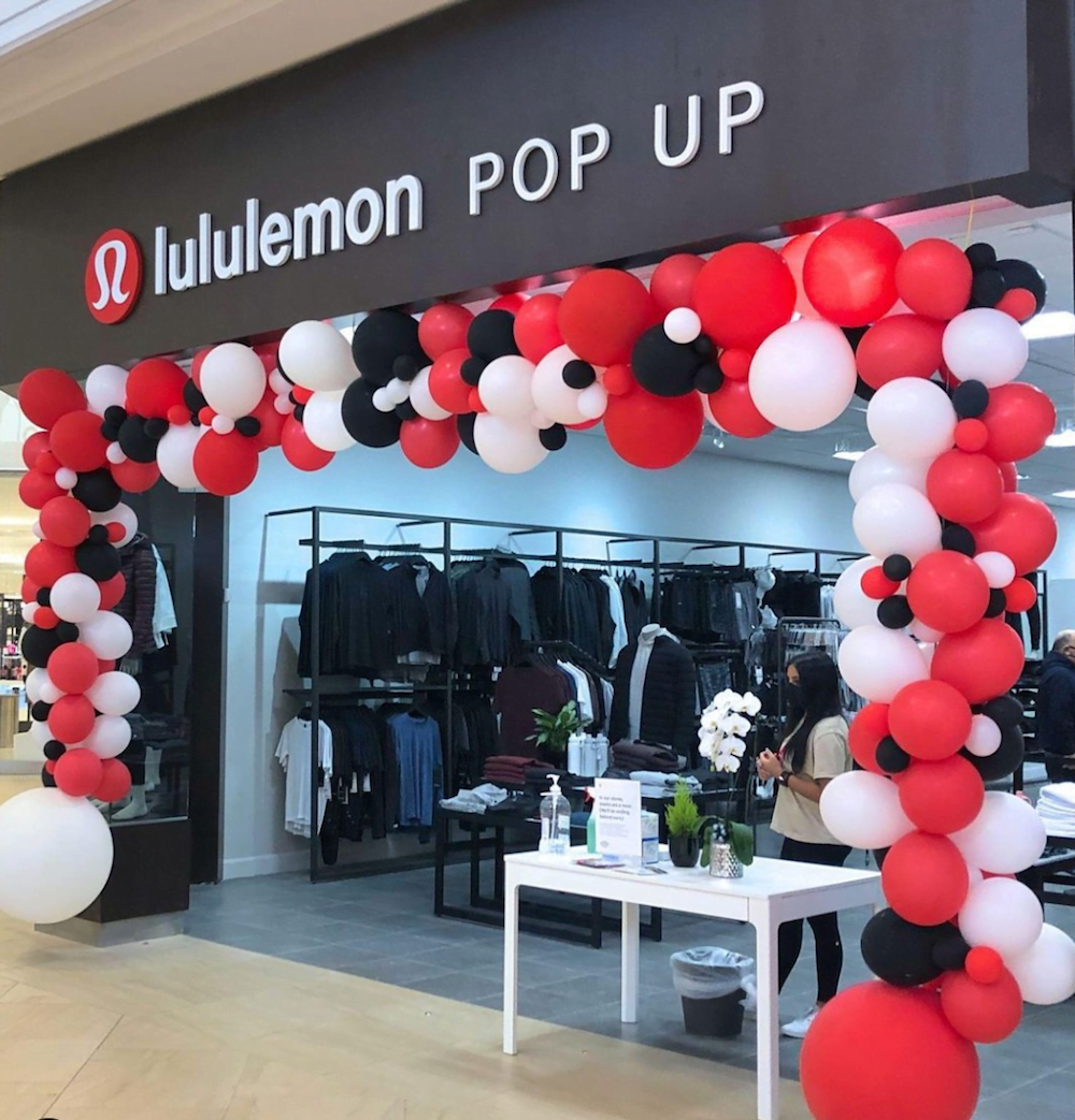 Hillcrest Mall lululemon popup store. Photo: Hillcrest Mall Instagram