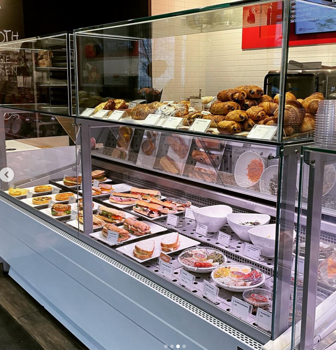 Interior of new Brioche Dorée location on Toronto's Bay Street showing pastry lineup. Photo: Brioche Dorée Instagram