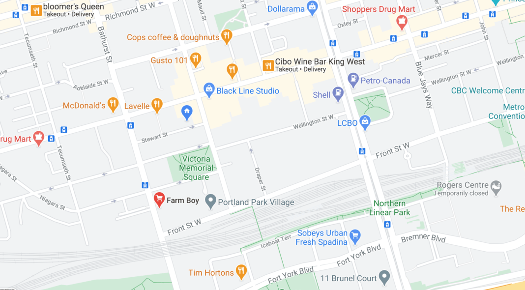 Click for interactive Google Map of Front and Bathurst neighbourhood