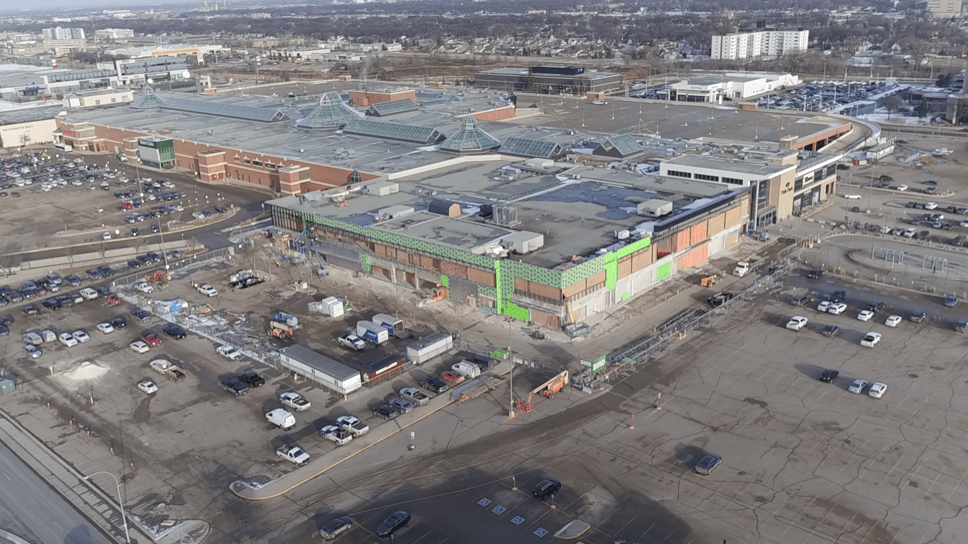 Exterior of CF Polo Park under construction. Photo: Cadillac Fairview