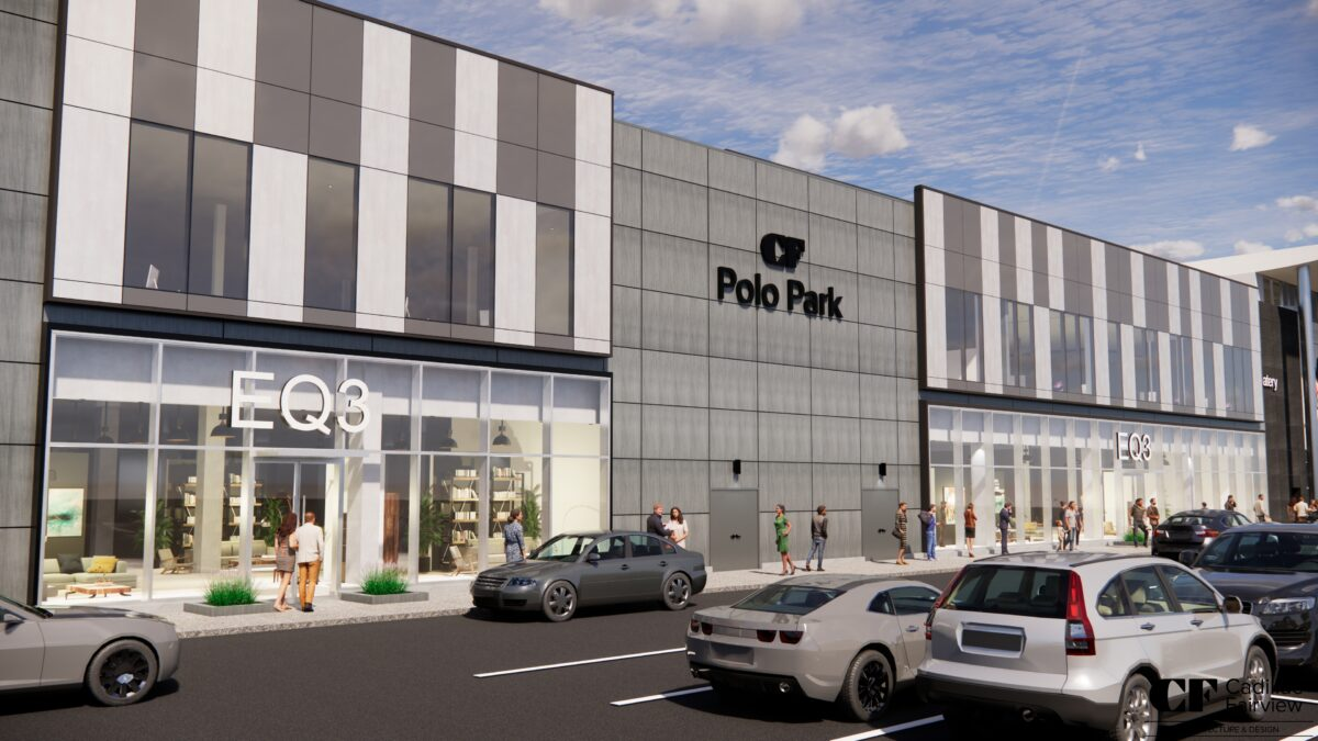 Rendering of the exterior of CF Polo Park and new EQ3 store. Rendering: Cadillac Fairview