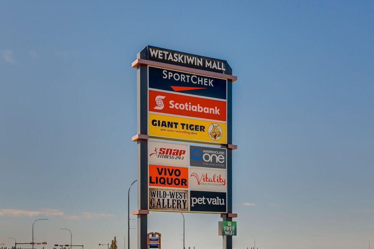 Wetaskiwin Mall sign. Photo: Wetaskiwin Mall