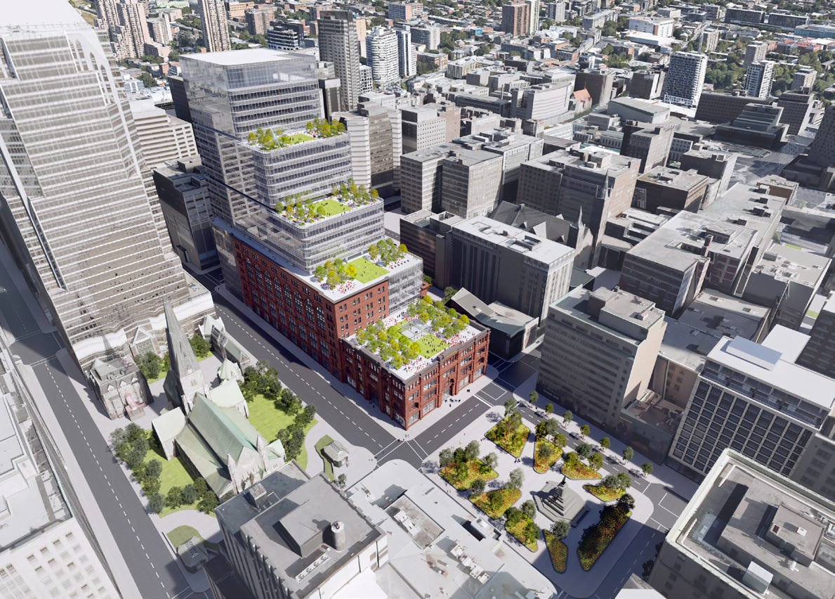 Aerial rendering of the newly-renovated Hudson's Bay office building extension on the Saint-Catherine Street side. Rendering: Menkes Shooner Dagenais LeTourneux