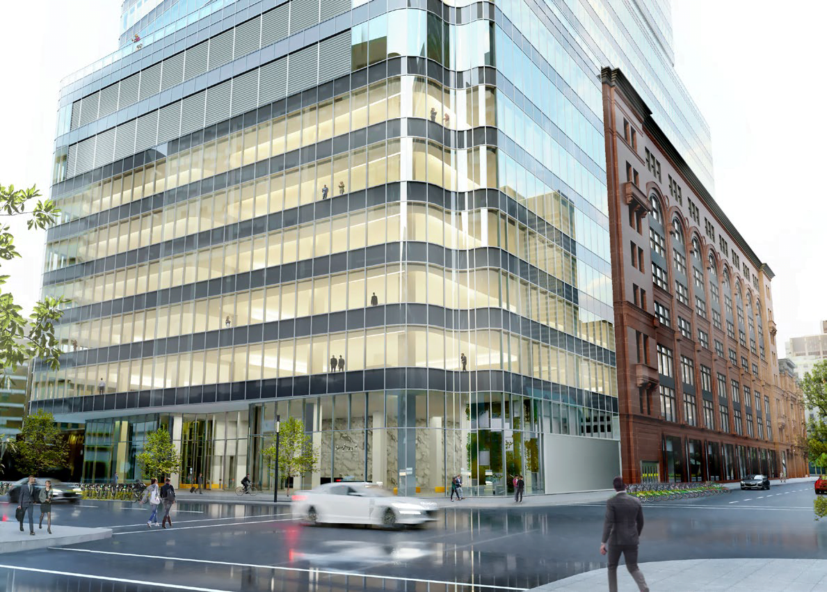 Rendering of the newly-renovated Hudson's Bay office building extension. Rendering: Menkes Shooner Dagenais LeTourneux