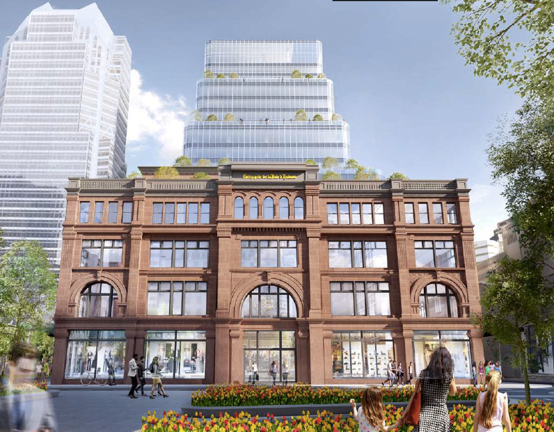 View of the newly-renovated Hudson's Bay store from Saint-Catherine Street. Rendering: Menkes Shooner Dagenais LeTourneux
