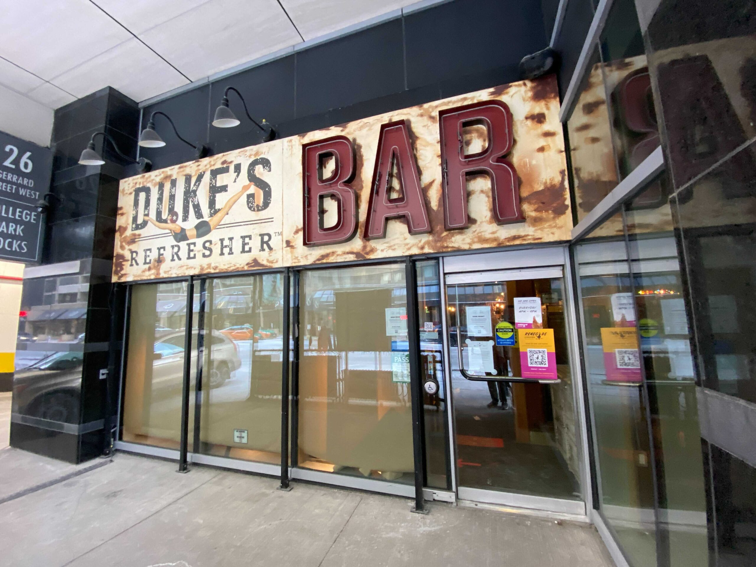 Exterior of Duke's at Aura Centre which is closing. Photo: Dustin Fuhs