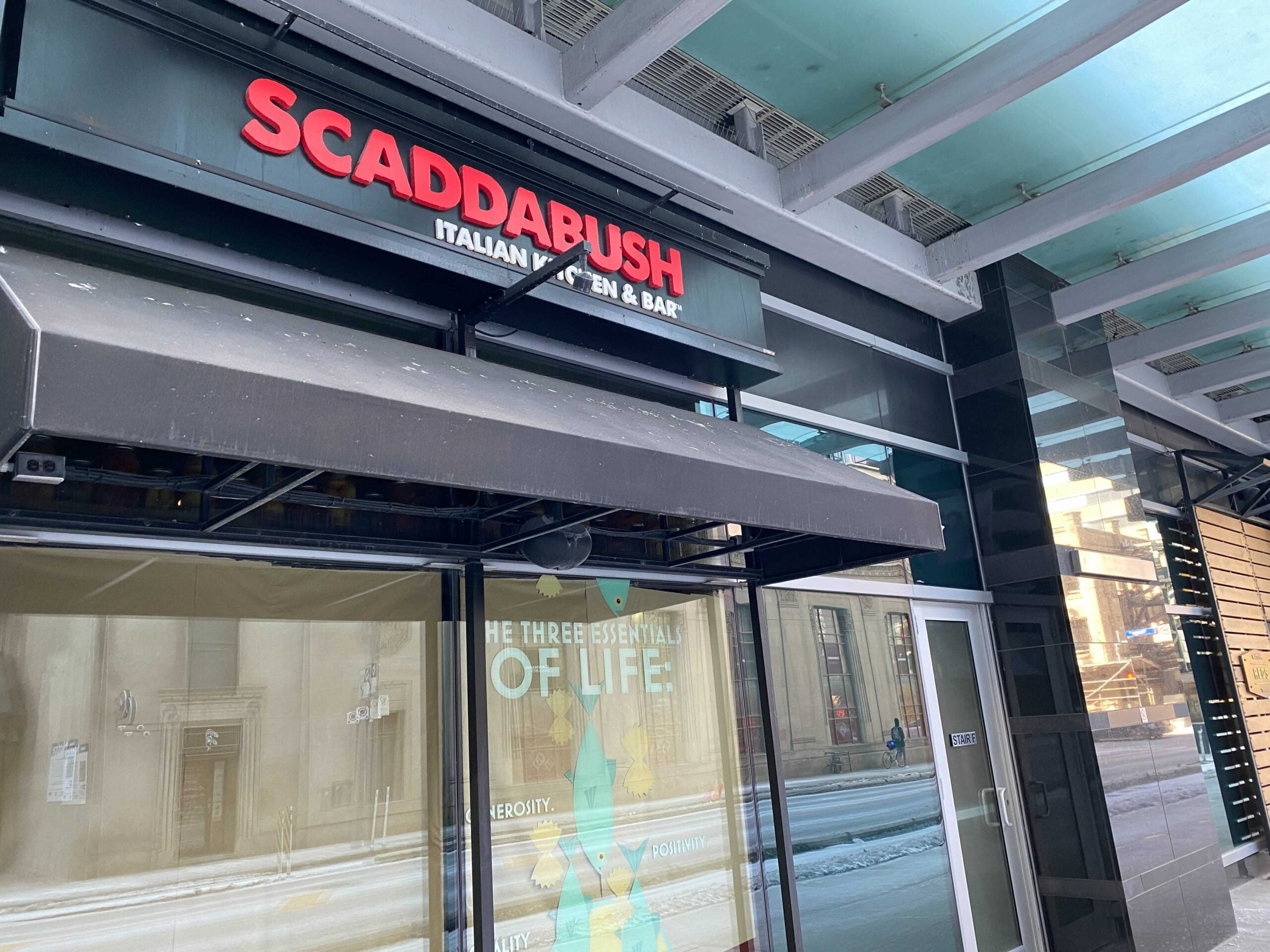 Exterior of Scaddabush at Aura Centre which is closing. Photo: Dustin Fuhs