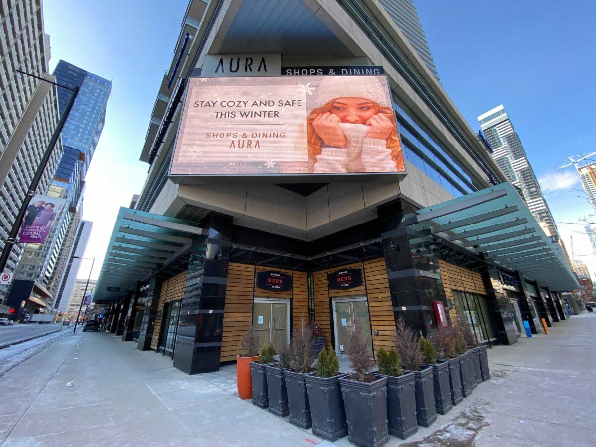 Exterior south west corner of Aura centre where three restaurants are closing. Photo: Dustin Fuhs