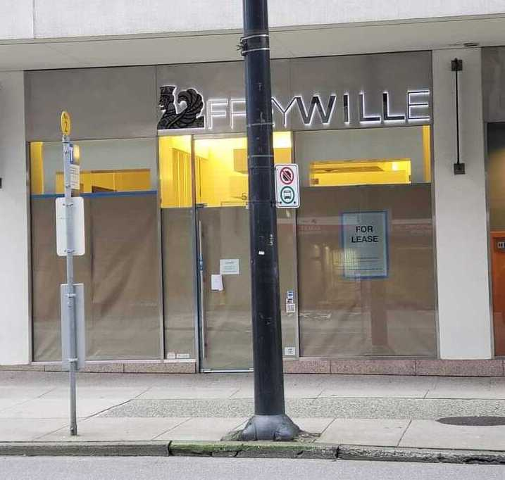Exterior of shuttered Frey Wille store in Vancouver. Photo: Gaurav Mehra