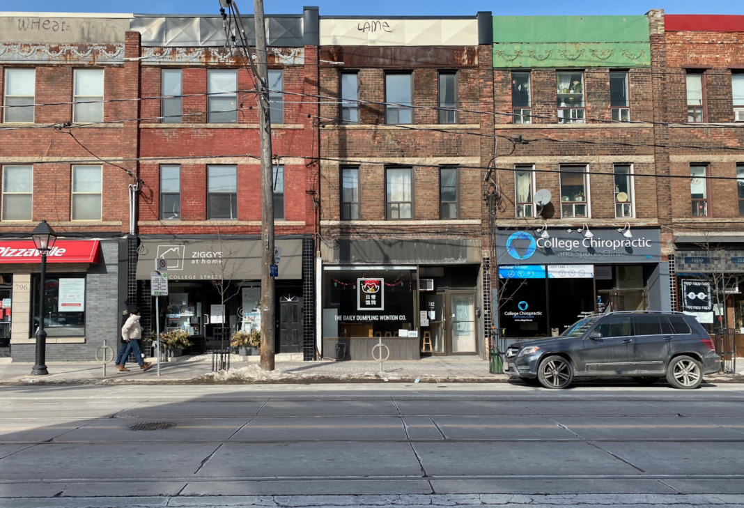 A quiet College Street West in Toronto in January 2021. Photo: Dustin Fuhs