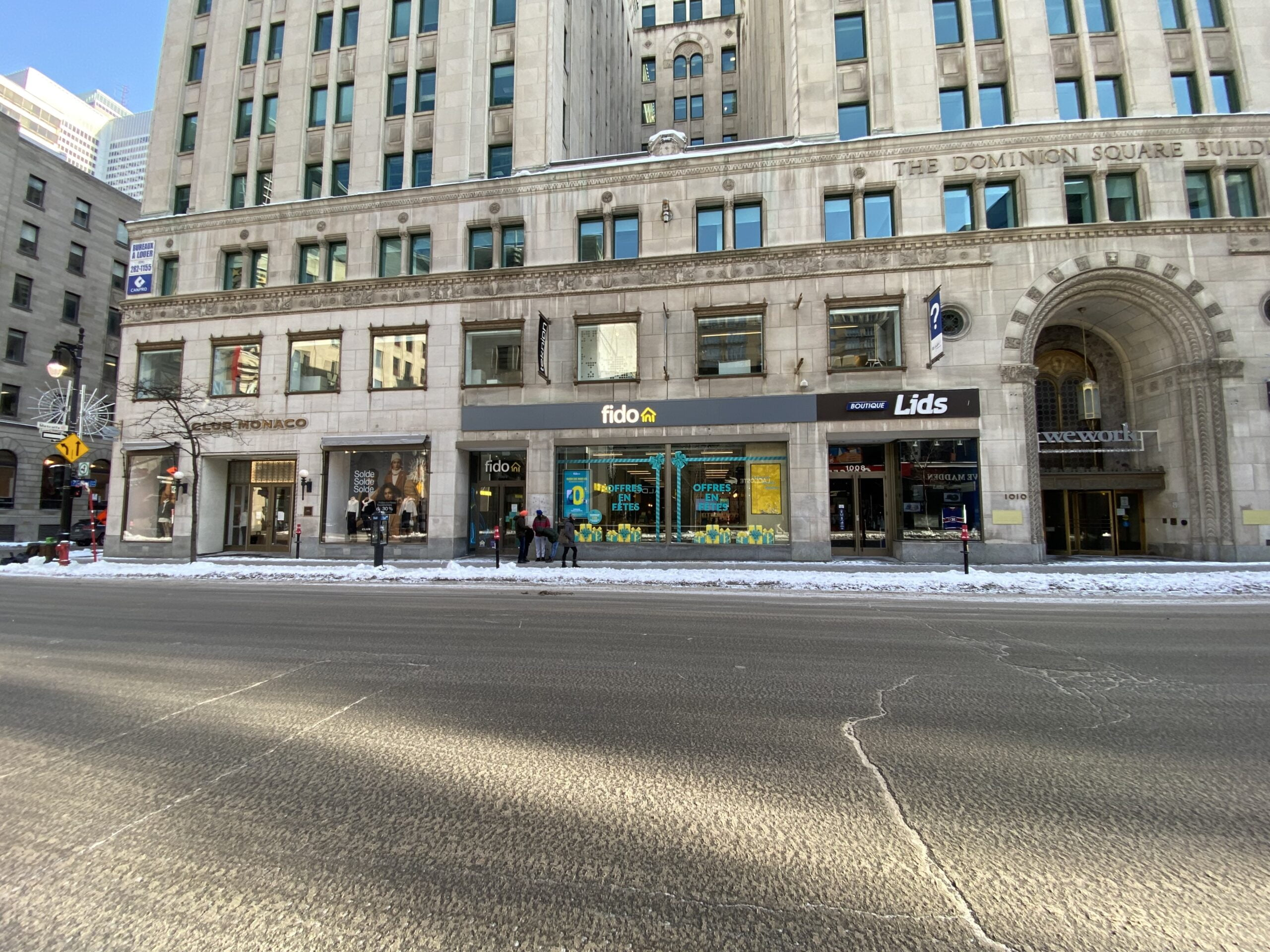 Club Monaco, FIDO and LIDS in Montreal on Saint-Catherine Street