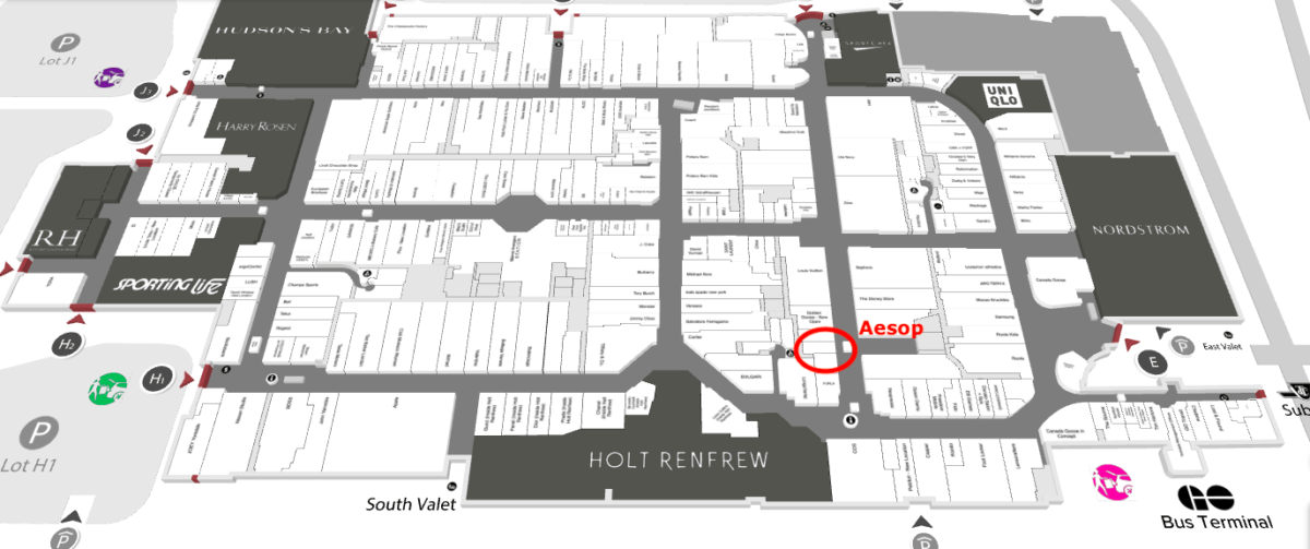 Map of Yorkdale Shopping Centre showing location of the new Aesop store.