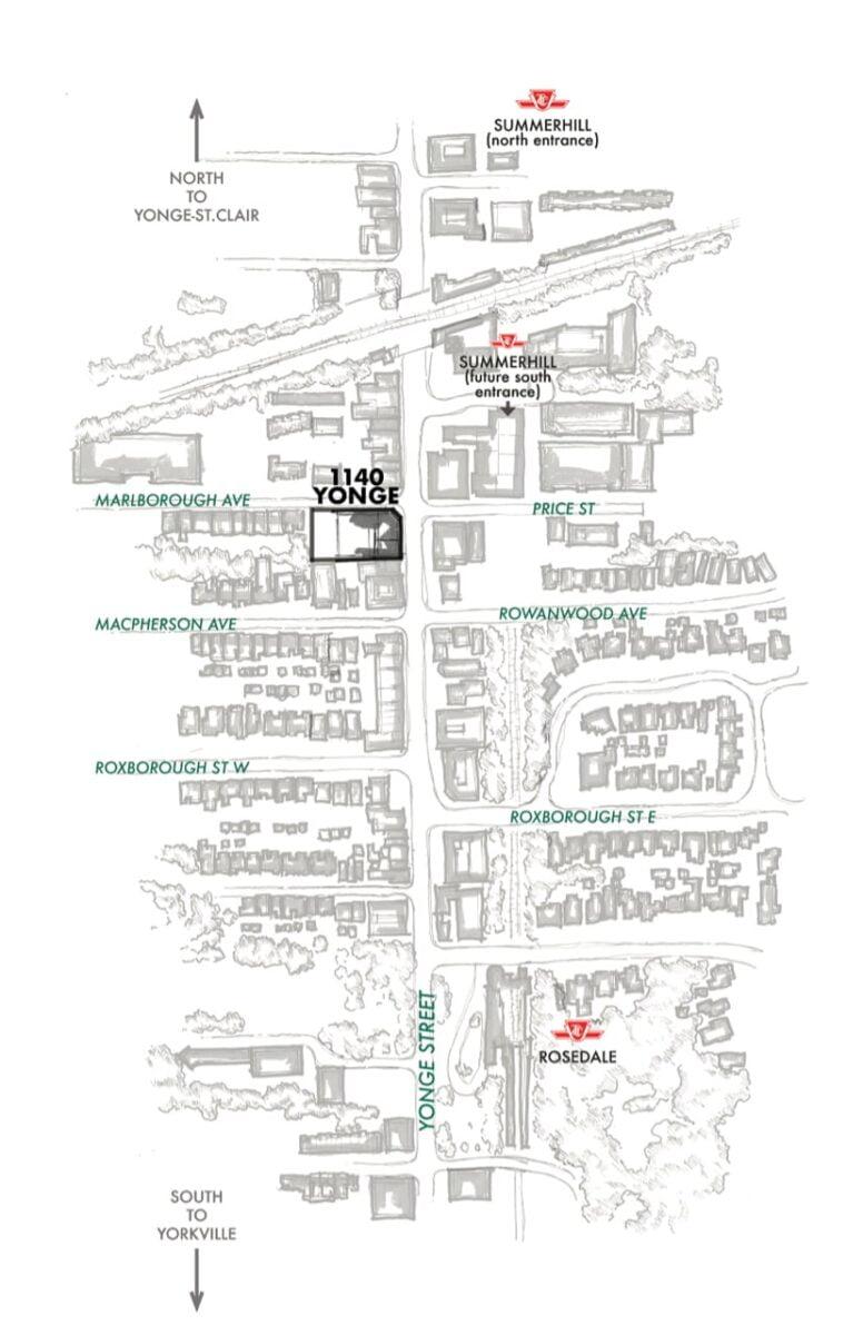 Map of the surrounding area. Image: 1140Yonge