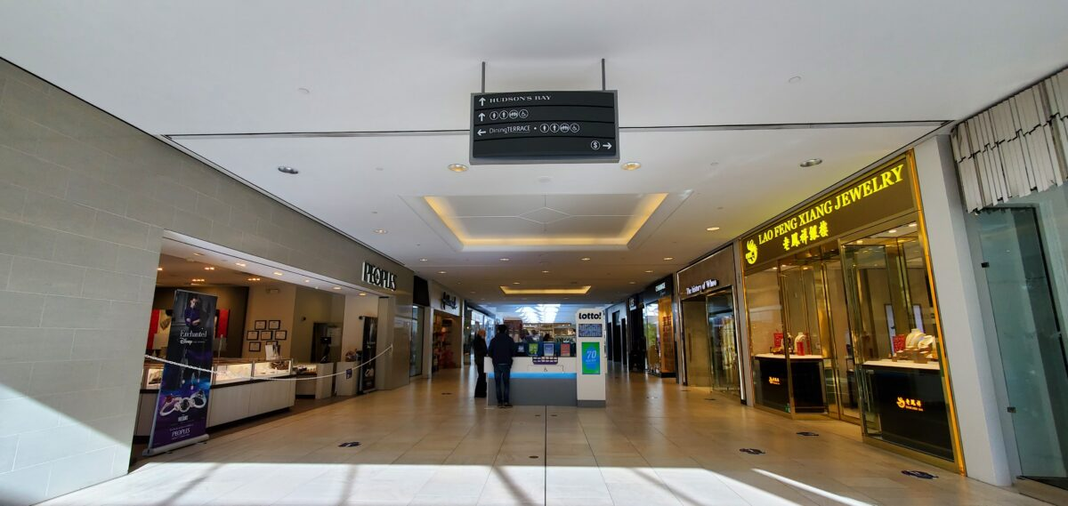 Richmond Centre corridor between Peoples Jewelers and Lao Feng Xiang Jewelry.