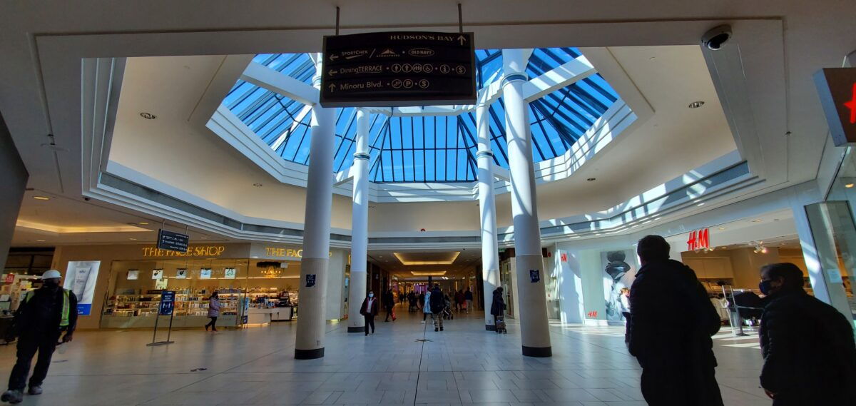 Richmond Centre atrium between The Face Shop and H&M.
