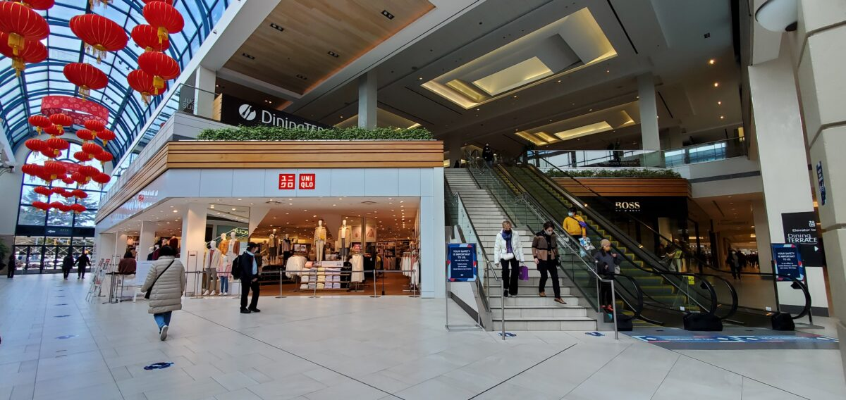 Stairs/Escalators from Galleria (by Uniqlo) to the Dining Terrace at Richmond Centre.
