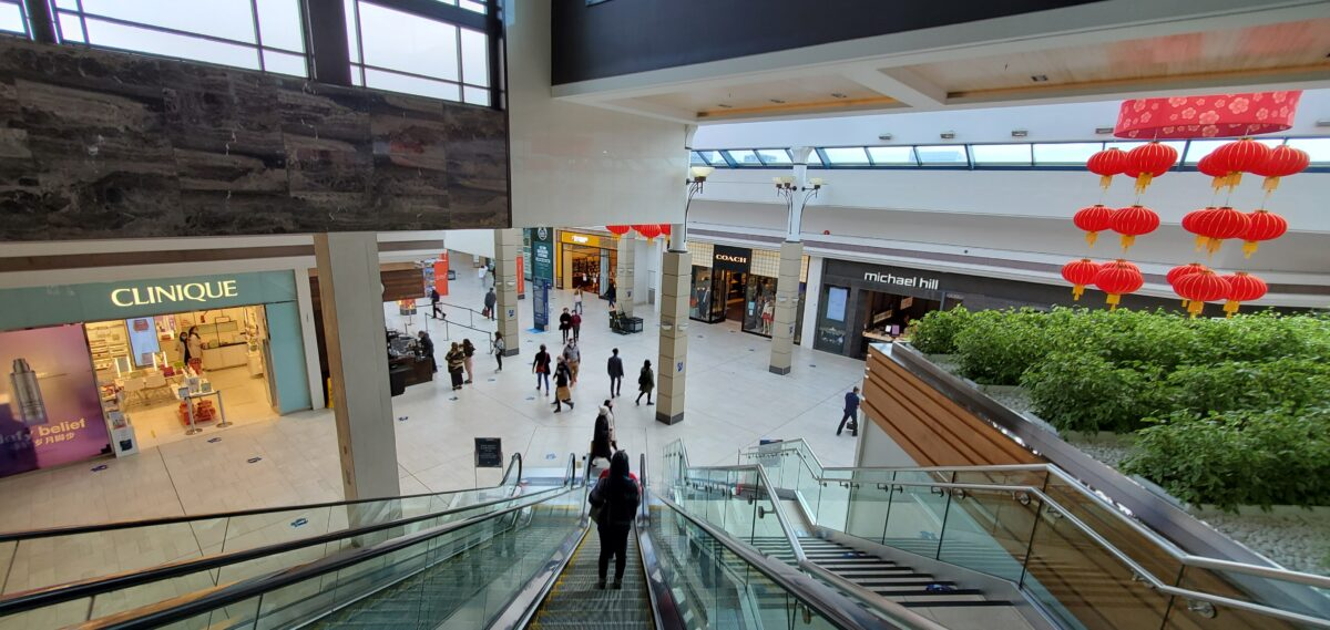 Descending from the Dining Terrance on Level 2 to the Main Galleria at CF Richmond Centre.