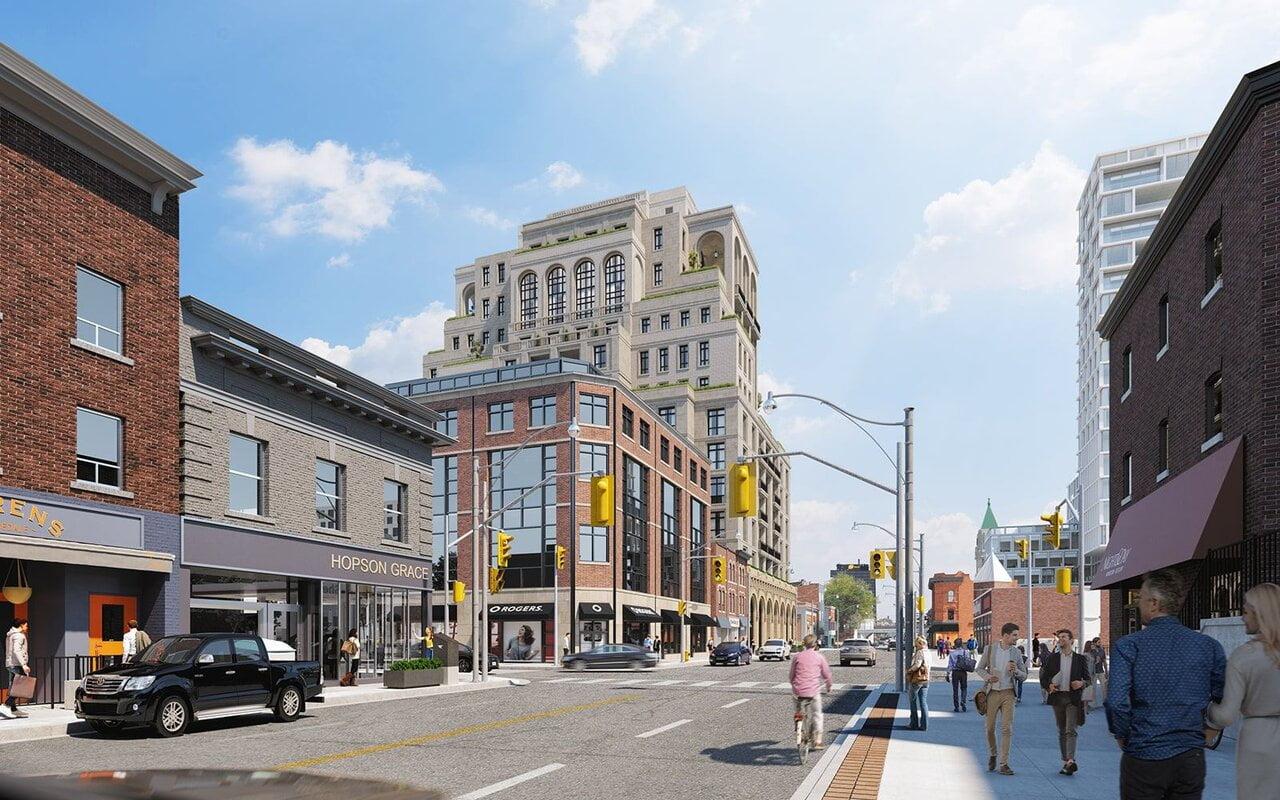 Looking north along Yonge street at 1140 Yonge. Designed by Audax for Devron Developments. Rendering: Urban Toronto