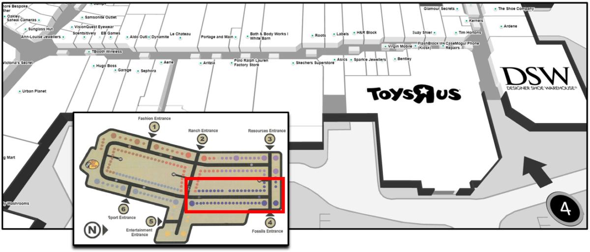 CrossIron Mall Map - Fossils Neighbourhood