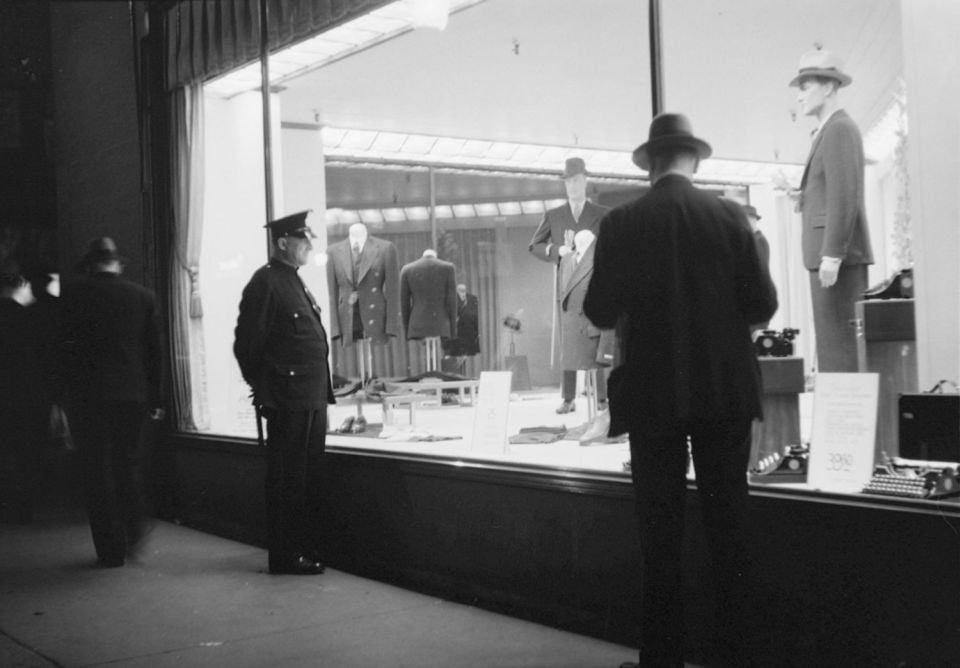 Menswear showcase of Simpson's store on St. Catherine Street in Montreal, 1936.
