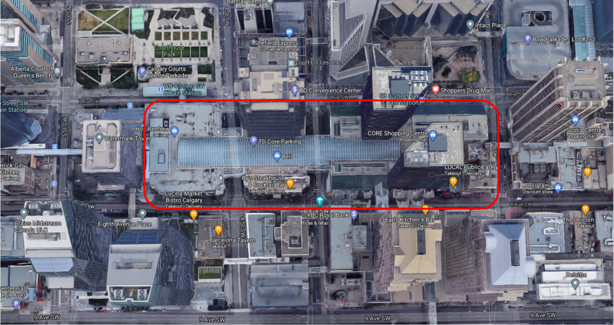"Google Satellite Map of ""The Core"" spanning across three downtown streets"