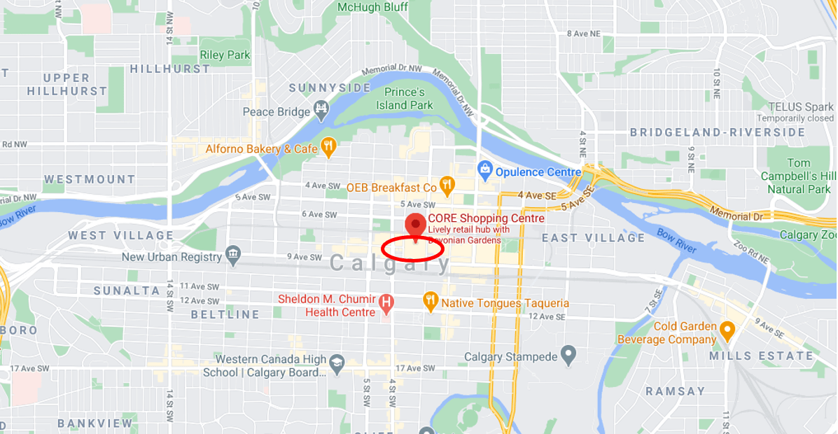 "Google Map of Calgary with ""The Core"" circled"