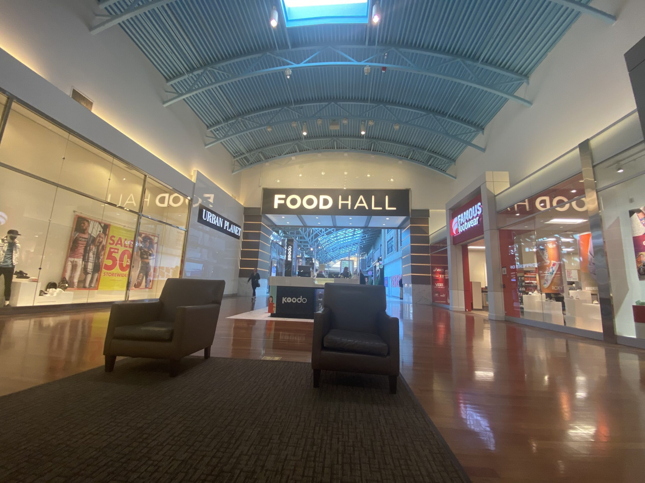 Interior Food Hall Entrance in Entertainment Neighbourhood at CrossIron Mills.