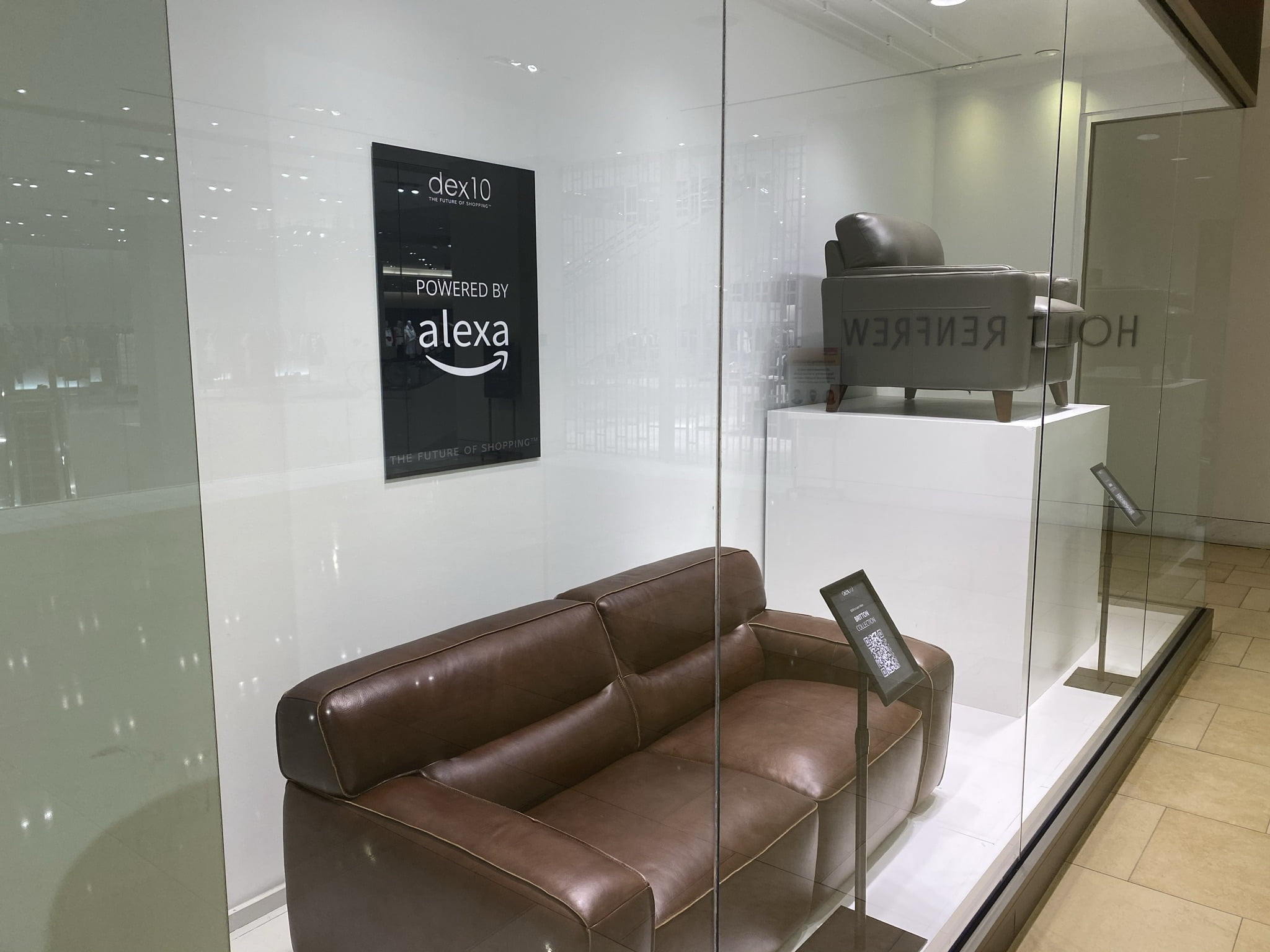 Interior of new dex10 store showcasing furniture samples and interactive QR codes. Photo: Geoff Dodsworth